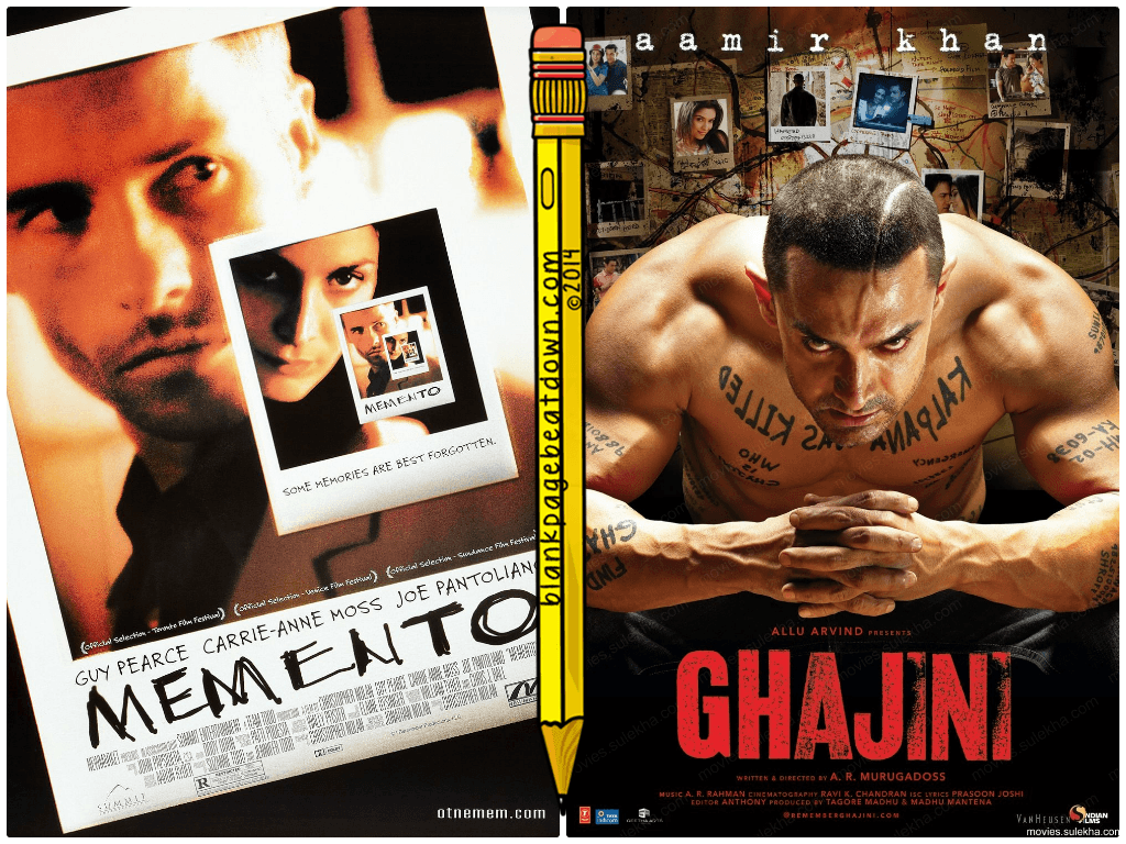 memento ghajini 2000 2008 screen split bollywood nolan christopher controversy different hollywood vs posters languages blankpagebeatdown